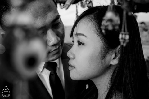 Cappadocia couple pre-wed shoot in Turkey in BW with formal attire