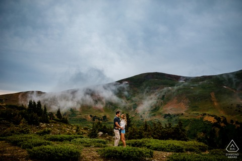 Keystone, Colorado couple pre-wed shoot for a Summer Engagement portrait in the clouds