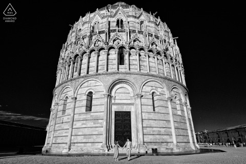Pisa bride and groom to be, posturing for an engagement image at the Piazza dei Miracoli - Square of Miracles