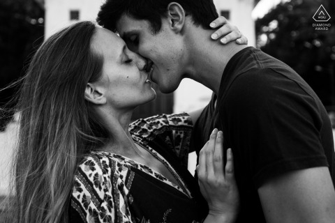 Maceio bride and groom to be, posturing for an engagement image that looks to be a movie kiss