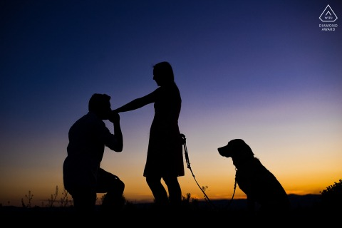 Colorado bride and groom to be, posing for a pre-wedding engagement photo shoot at Cameron Pass with their beloved third wheel dog at sunset