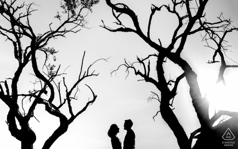Coronel Sapucaia bride and groom to be, modeling for a pre-wedding picture in Mato Grosso do Sul, surrounded by trees