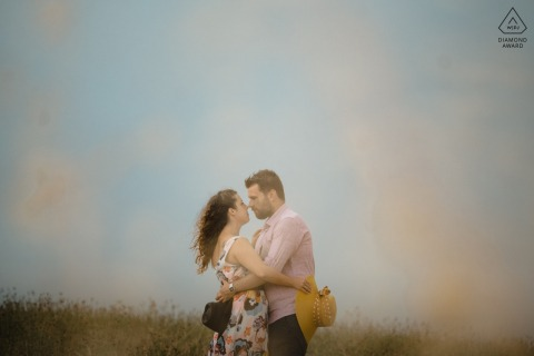Crete Senesi bride and groom to be, posturing for an engagement image in the countryside of Tuscany