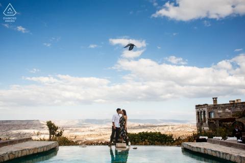 Cappadocia futuri sposi, in posa per un'immagine di fidanzamento della Turchia al Museum Hotel