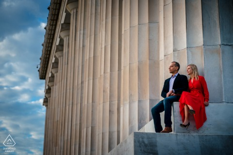 Washington DC bride and groom to be, sitting for a pre-wedding engagement session at Lincoln Memorial