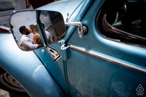 Outdoor Calle Terraplen, San Miguel de Allende couple engagement photography portraitswith a classic VW blue car