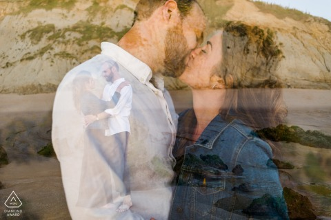 Outdoor Biarritz, France couple engagement photography portraitswith a double exposure on the beach