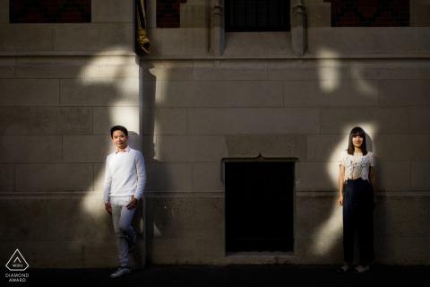 On location Paris, France couple engagement portrait shootwhile chasing the sun