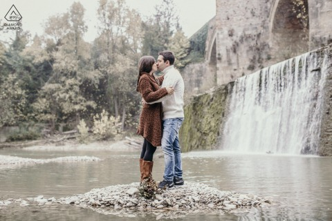 River Bed, Meldola, Italy environmental couple pre wedding image sessionin a river bed with autumn foliage