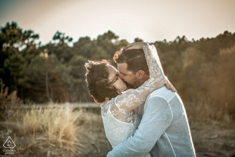 Ravenna Wild Beach, Italy outside environmental couple candid session with a romantic kiss