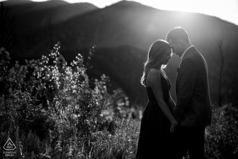 Monjeau Lookout, NM outside environmental couple prewedding photoshootin BW in the Ruidoso countryside