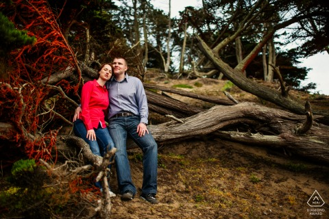 Outdoor San Francisco couple engagement photography portrait showing some Indulging in nature