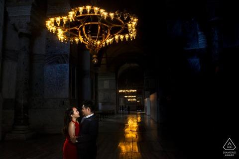 Hagia Sophia, Istanbul environmental couple pre wedding image sessionindoors under lights in Turkey