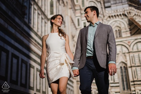 Outdoor Florence couple engagement photography near the Duomo as background for a portrait