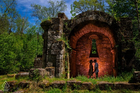 Vosges outside environmental couple prewedding photoshootshowing love is a rock