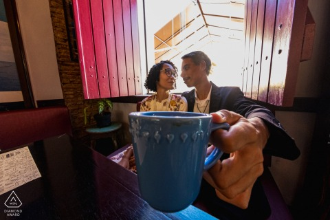 Alagoas environmental couple pre wedding image session in a Maceió Brazil coffeeshop