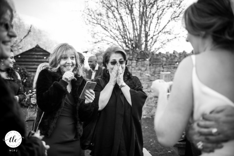 Lyde Court, Hereford wedding reportage image of Aunts lost in emotion