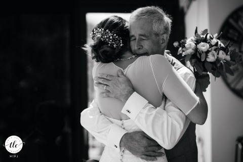 Hamble wedding moment picture showing the fathers reaction in BW