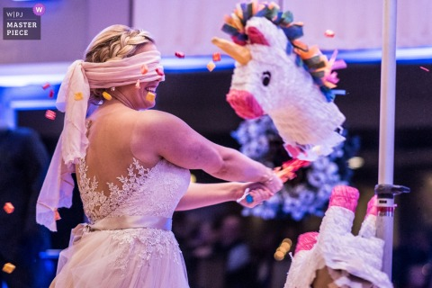 Madison wedding photographer captured this blindfolded bride getting the final swing on a unicorn pinata
