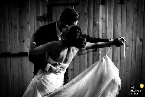 Durbach bride and groom dance with each other at the wedding reception