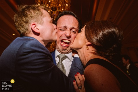 Adare manor, Co. Clare, Ireland Wedding Photo of Man Getting Kissed with Great Expression