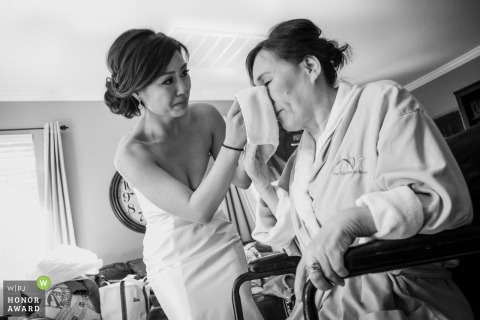 Bride during getting ready at Oak Glen, California, USA - CA Wedding Photos