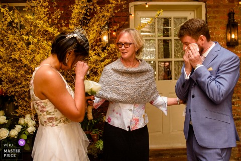 New York City bride and groom both get emotional at the wedding ceremony