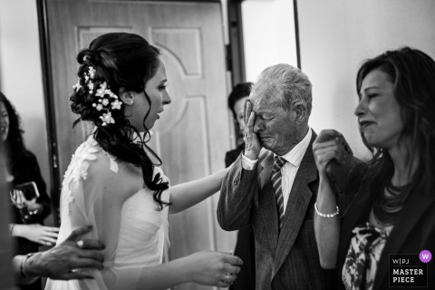 Sardinia brides parents get emotional as they see the bride in her wedding dress
