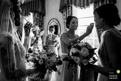 The bride and her entourage are prepared for the Kildare, Ireland wedding ceremony