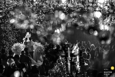 Bangkok bokeh image of the wedding ceremony