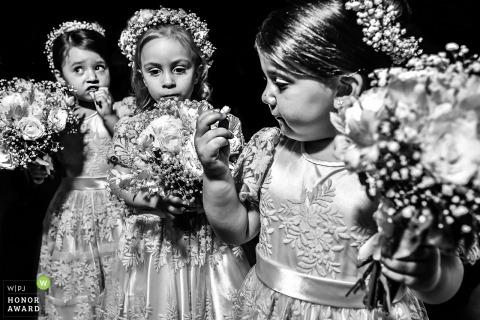 Visoça wedding photograph of Three flower girls in black-and-white