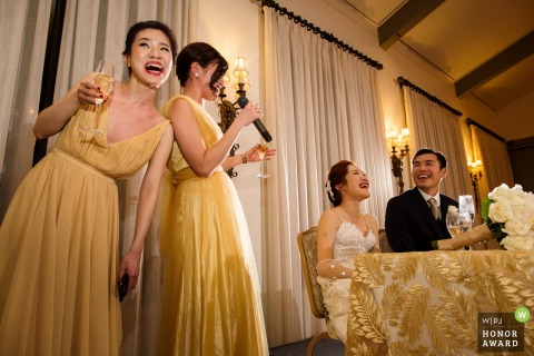 Castlewood Country Club in Pleasanton - wedding photographer captures toasts and laughter at this reception