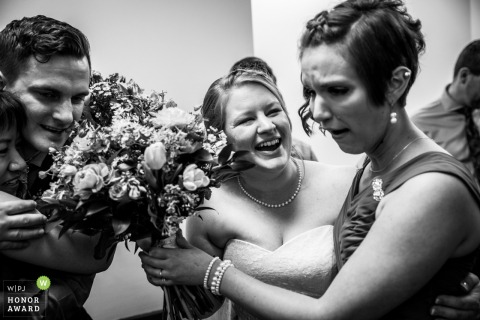 Mounds View Event Center wedding photographer - the bride with her friends and bouquets in black-and-white