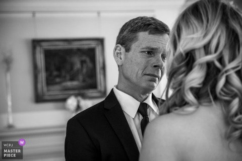Brides father getting emotional seeing her in her dress at the Gale Mansion