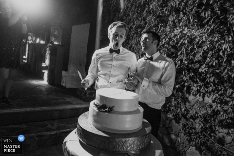 San Miguel, Mexico grooms about to cut the cake