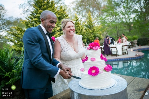 Aska Farms, Blue Ridge, GA - poolside cake cutting ceremony at this outdoor reception