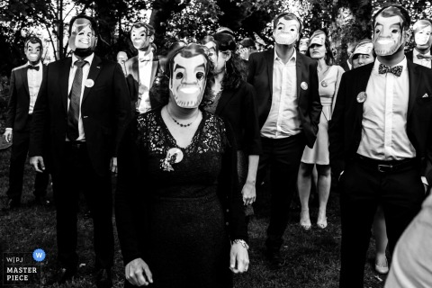 France wedding guests and bridal party wearing masks during the ceremony