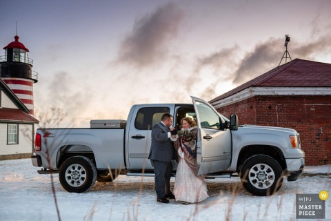 Lubec, Maine bride and groom in front of a truck after the wedding