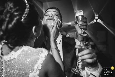 Rio de Janeiro, Brazil bride and groom enjoying drinks at the wedding reception