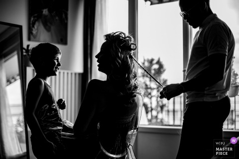 Chateau du Sou getting her hair ready before the wedding ceremony
