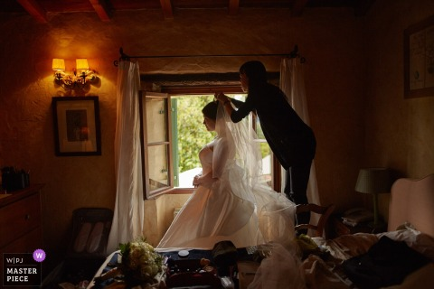 Villa La Magioca, novia de Italia preparándose para la boda
