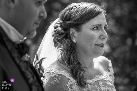 villa di bagno, mantova bride starting to cry during the wedding ceremony