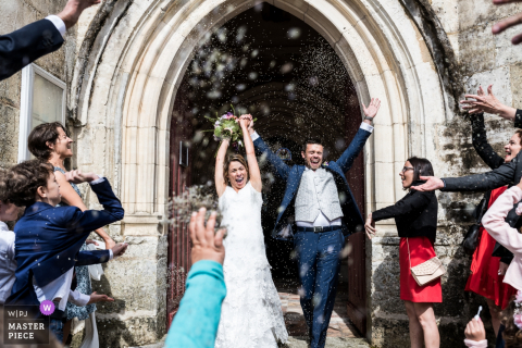 Leoville guests celebrate with the bride and groom after getting married