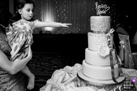 Laois, Ireland girl points at the wedding cake art the reception