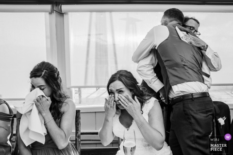 Bridal party gets emotional at the wedding reception at Lake Tahoe