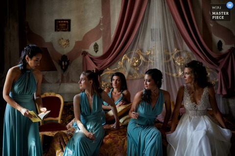 Villa Molin - Italy wedding day photo from the bridal party suite after all the girls have finished getting ready