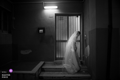 Outdoor photo of bride in her wedding dress in Siracusa, Sicily