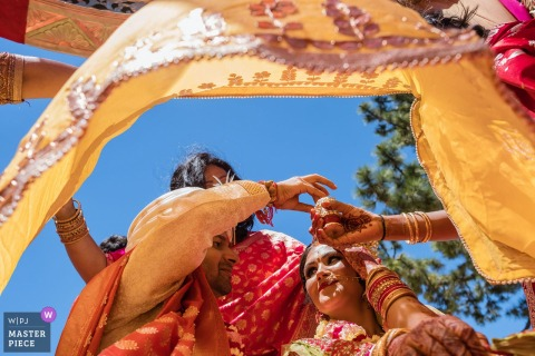 Traditional outdoor wedding ceremony Color photo from Lake Tahoe, California