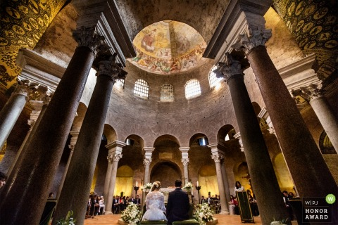 Roma bride and groom during the ceremony