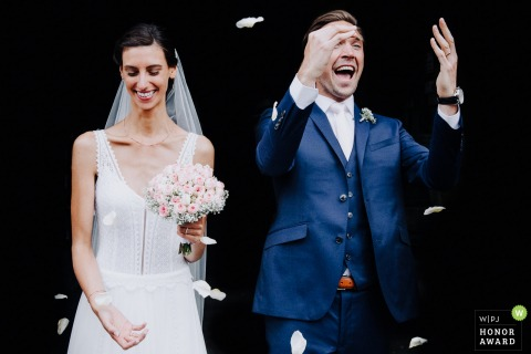 Crach bride and groom smile after their France wedding ceremony